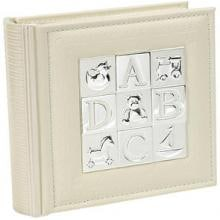 Elegant Baby Faux Leather Silver-Plated Photo Album - Cream