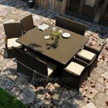 Forever Patio Hampton 8-Person Resin Wicker Patio Dining Set With Glass Top Table - Chocolate