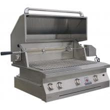 Solaire 36 Inch Built-In All Infrared Propane Gas Grill With Rotisserie - SOL-AGBQ-36IR-LP Solaire 36 Inch Built-In Infrared Grill With Rotisserie - Angled With Hood Open