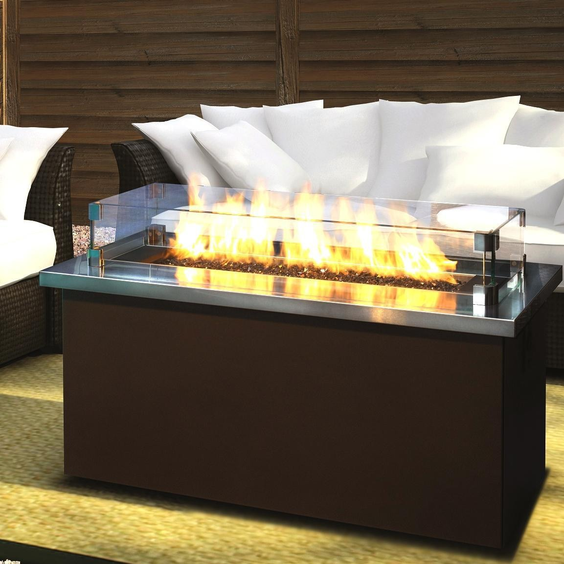 Firegear Key West 48 Inch Propane Gas Fire Pit Coffee Table With Stainless  Steel Tabletop
