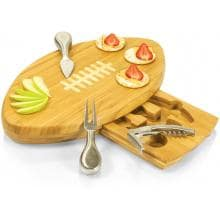 Picnic Time Quarterback Football Cheese Board With Tools