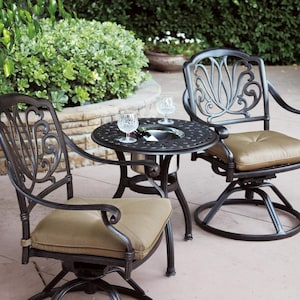 Darlee Elisabeth 3 Piece Cast Aluminum Patio Bistro Set With Swivel Rocker Chairs & End Table With Ice Bucket Insert image