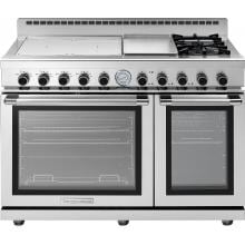 Tecnogas Superiore 48-Inch NEXT Panorama Induction Range With 4 Zones, 2 Natural Gas Burners & Griddle - Stainless Steel - RN483GPS-S image