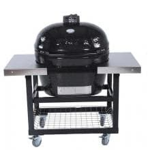 Primo Ceramic Smoker Grill On Cart With Stainless Side Tables - Oval XL