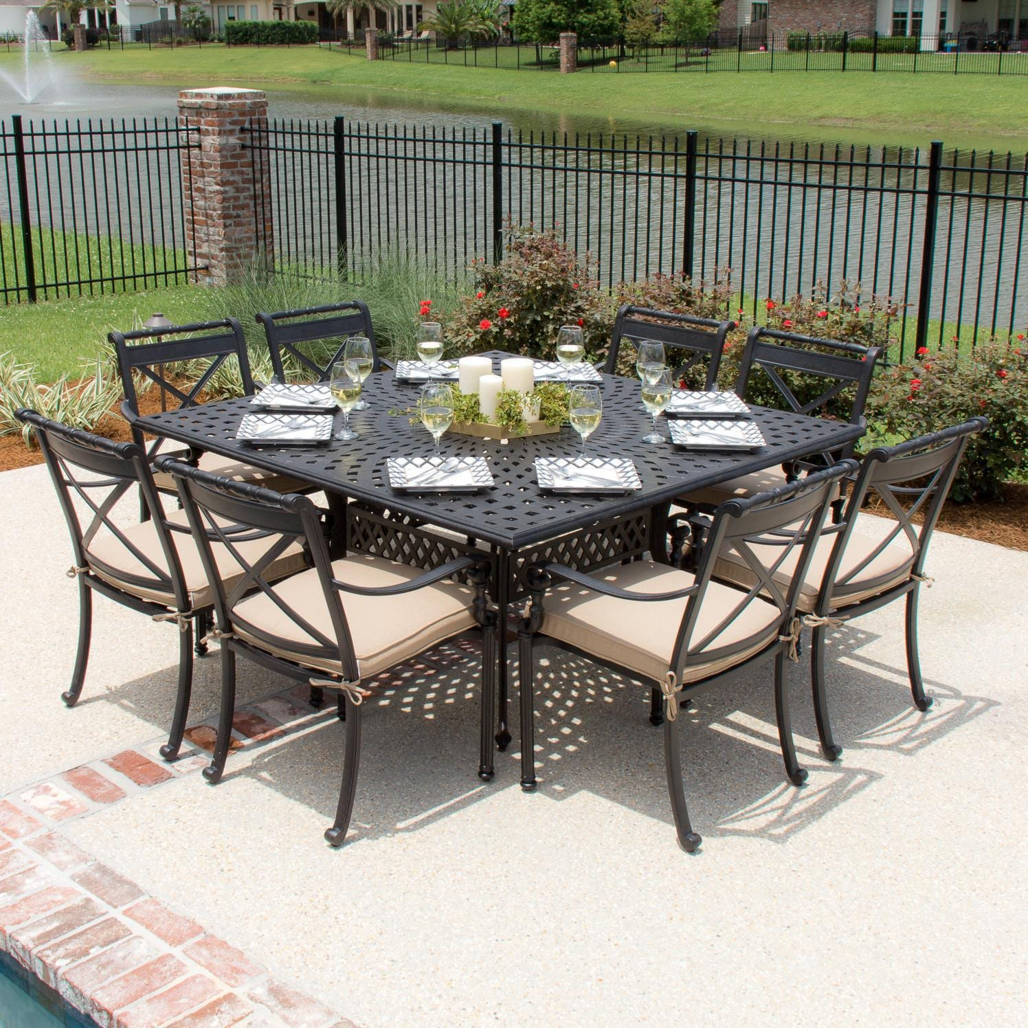 Carrolton 9 Piece Cast Aluminum Patio Dining Set With Stacking Chairs Square Table By Lakeview