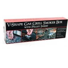 13-Inch Stainless V-Smoker Box With Pellet Tube Charcoal Companion Long Smoker Box - Package