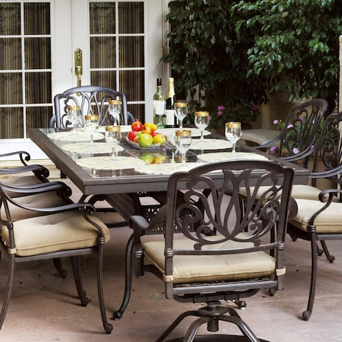 Darlee elisabeth 9 piece cast aluminum patio dining set for Outdoor dining sets for 10