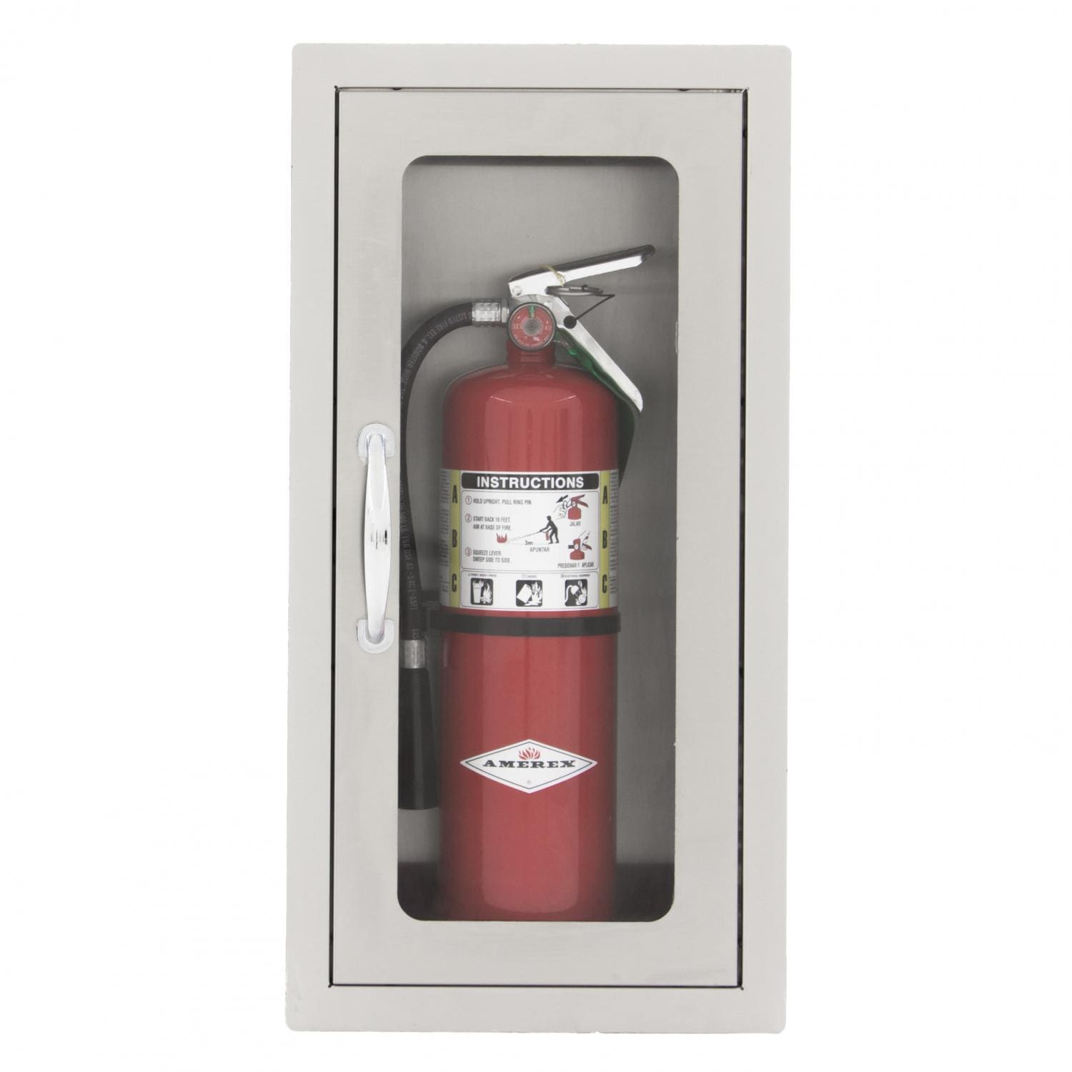 BBQGuys   14-Inch Stainless Steel Flush Mount 10 Lb. Fire Extinguisher Cabinet BBQFECFL-3
