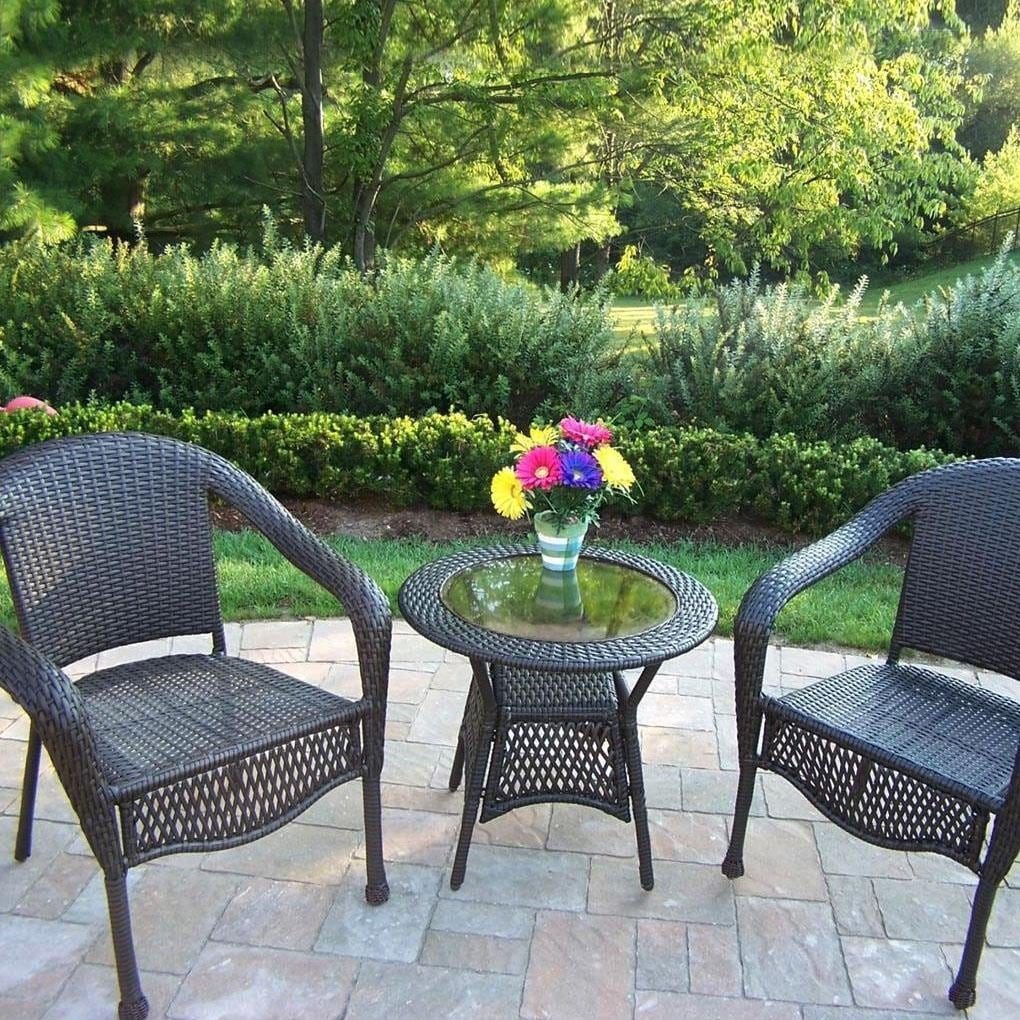 Oakland Living Resin Wicker Patio Bistro Set With Glass