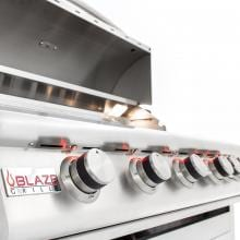 Blaze LTE 40-Inch 5-Burner Built-In Natural Gas Grill With Rear Infrared Burner & Grill Lights - BLZ-5LTE2-NG Blaze Red LED Ilumminated Knobs