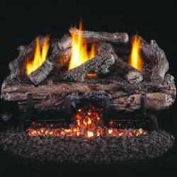 Peterson Real Fyre 24-Inch Charred Aged Split Oak Gas Log Set With Vent-Free Propane ANSI Certified G10 Burner - Basic On/Off Remote image