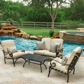 Elysian 4 Piece Patio Conversation Set W/ Loveseat & Sunbrella Canvas Antique Beige Cushions By Lakeview Outdoor Designs