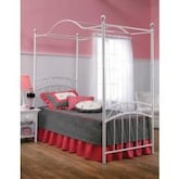 Hillsdale Emily White Metal Canopy Bed Set Without Frame - Twin - 11180BTWP