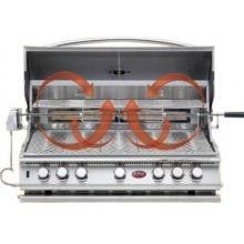 Cal Flame 40-Inch 5-Burner Convection Built-In Natural Gas BBQ Grill With Rotisserie (Ships As Propane With Conversion Fittings) - BBQ15875CN Cal Flame 5 Burner Convection Built In Gas Grill - Open View
