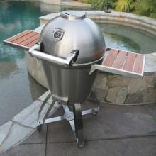 Caliber Pro Kamado Grill On Stainless Steel Cart With Wood Inserts - Stainless Steel