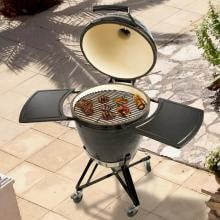 Primo All-In-One Ceramic Kamado Grill With Cradle & Side Shelves Primo All-In-One Ceramic Kamado Grill With Cradle & Side Shelves With Food