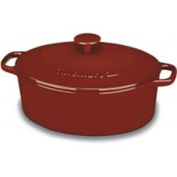 Cuisinart 5.5-Quart Oval Red Enamel Cast Iron Casserole With Lid - CI755-30CR image