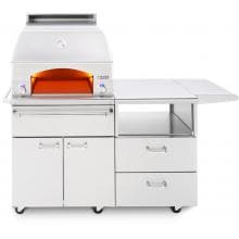 Lynx Professional Napoli 30-Inch Freestanding Propane Gas Outdoor Pizza Oven On Mobile Kitchen Cart - LPZAF-LP Lynx Napoli Freestanding Pizza Oven - Lights On