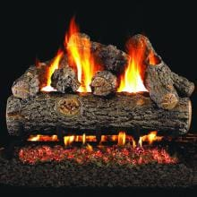 Peterson Real Fyre 36-Inch Golden Oak Designer Plus Outdoor Log Set With Vented Natural Gas Stainless G45 Burner - Match Light image