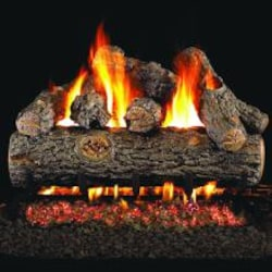 Peterson Real Fyre 30-Inch Golden Oak Designer Plus Outdoor Gas Log Set With Vented Natural Gas Stainless G45 Burner - Match Light image