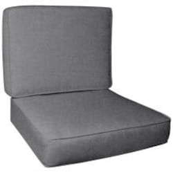 Sunbrella Cast Slate Large Outdoor Replacement Club Chair Cushion Set W/ Piping By UltimatePatio.com image