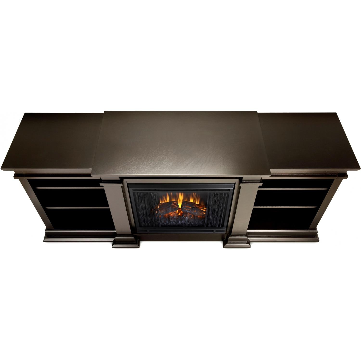 Real Flame Fresno 71 Inch Electric Fireplace Media Console Dark Walnut Gas Log Guys