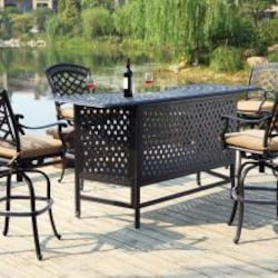 Darlee Sedona 5 Piece Cast Aluminum Patio Party Bar Set With Swivel Bar Stools - Antique Bronze image
