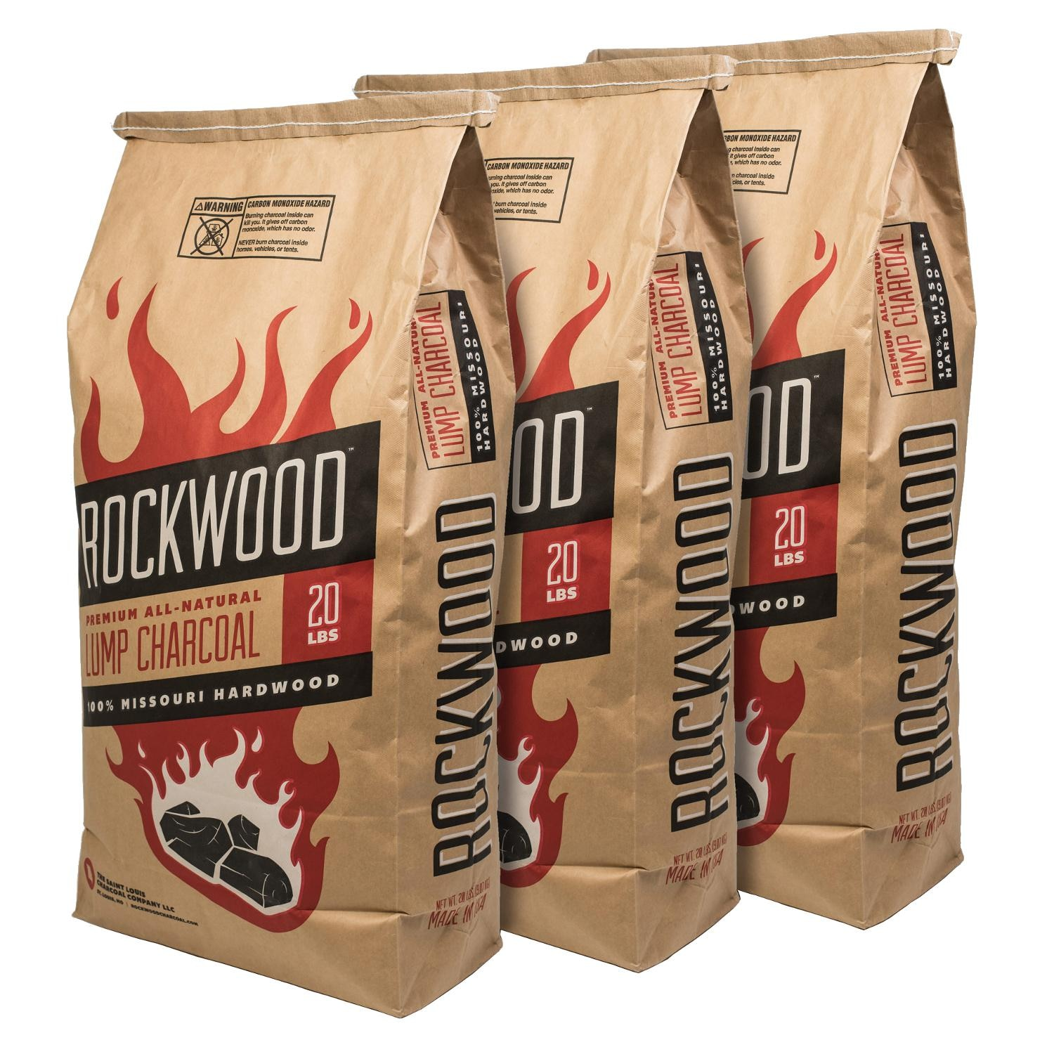 Rockwood  All-Natural Hardwood Lump Charcoal - 20 Lbs - 3 Pack - RW20 (3)