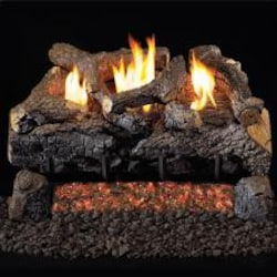Peterson Real Fyre 24-Inch Evening Fyre Charred Gas Log Set With Vent-Free Natural Gas ANSI Certified G18 Burner - Manual Safety Pilot image