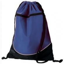Augusta Tri-Color Drawstring Backpack - Navy/Black Full View