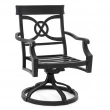 St. Charles Cast Aluminum Swivel Rocker Patio Dining Chair By Lakeview Outdoor Designs - Canvas Heather Beige St. Charles Cast Aluminum Swivel Dining - Frame Angle