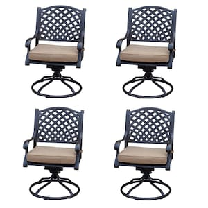 Nassau 4 Piece Cast Aluminum Patio Swivel Rocker Dining Chair Set W/ Sesame Cushions By Darlee image