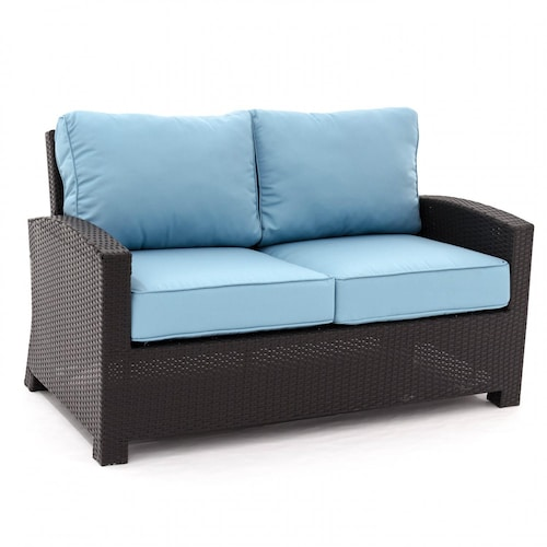 Eden Isle Resin Wicker Patio Loveseat By Lakeview Outdoor Designs Canvas Mineral Blue