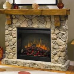 Dimplex Fieldstone 55-Inch Electric Fireplace Mantel - Inner-Glow Logs - Stone - GDS26l5-904ST image
