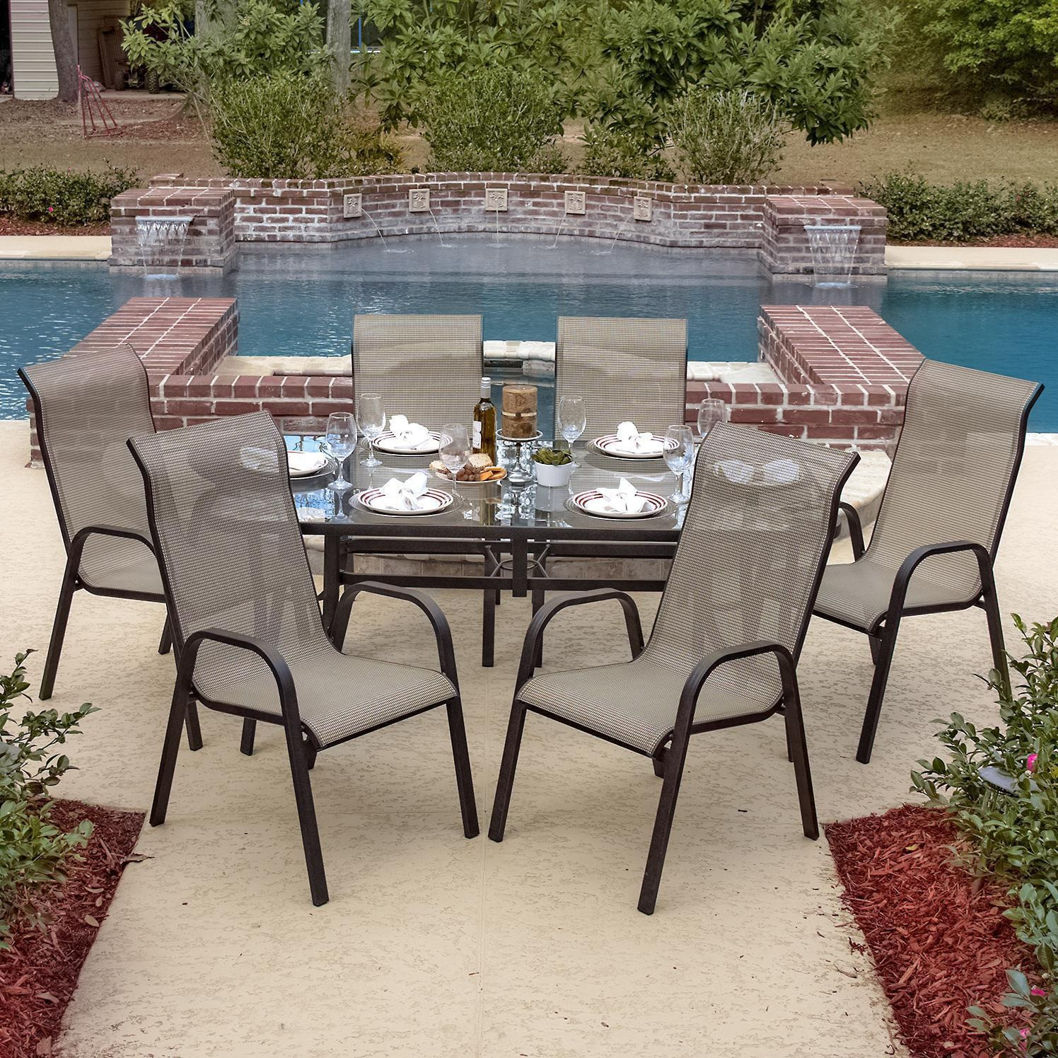 Madison Bay 7 Piece Aluminum Sling Dining Set With Stacking Chairs