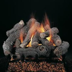 Rasmussen 24-Inch Bonfire See-Thru Gas Log Set With Vented Natural Gas Custom Pan Burner - Match Light image
