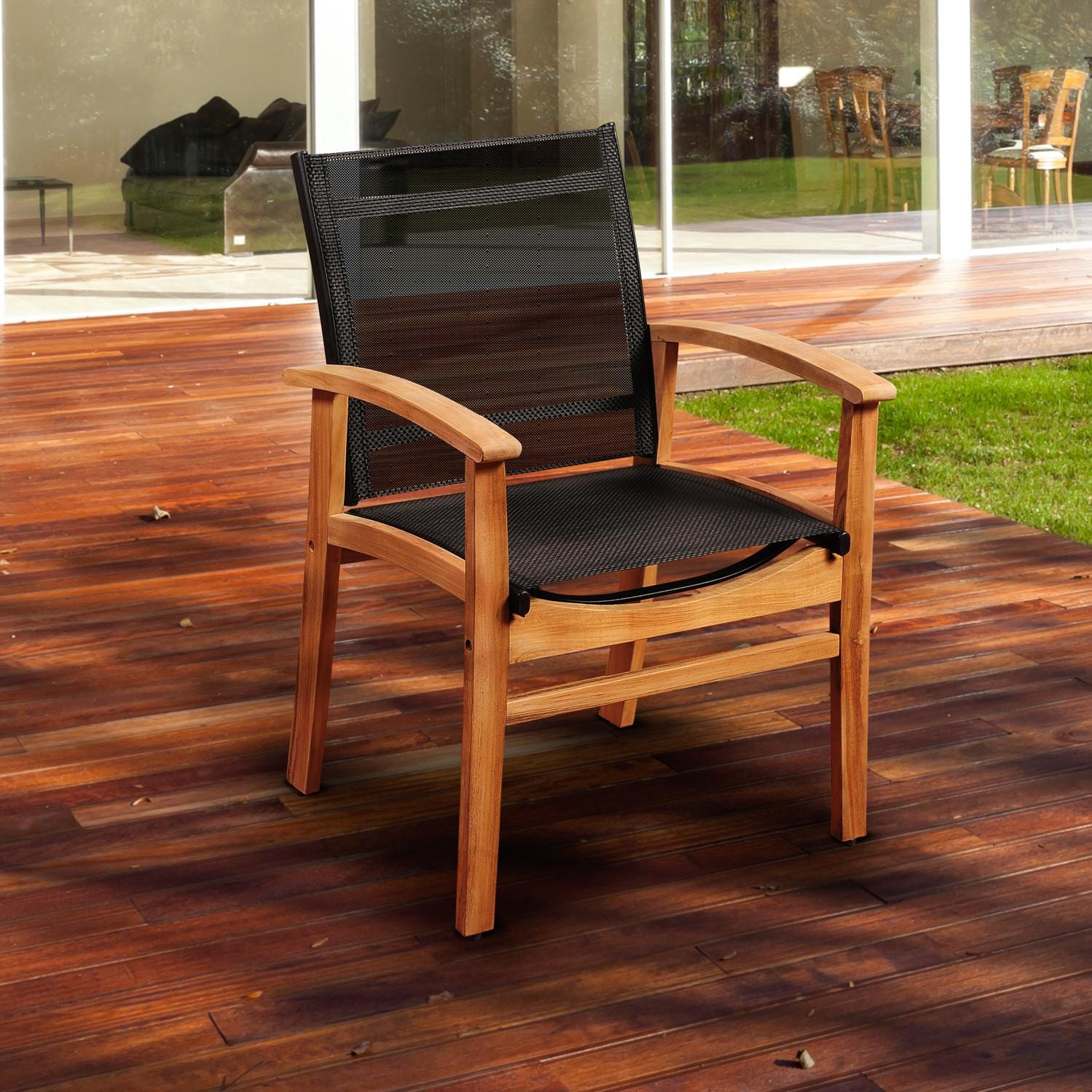 Amazonia Fortuna Sling Patio Dining Arm Chair With Teak Frame