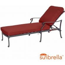 Villa Flora Cast Aluminum Patio Chaise Lounge W/ Sunbrella Canvas Henna Cushions By Lakeview Outdoor Designs image