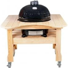Primo Ceramic Smoker Grill On Curved Cypress Table - Oval Junior