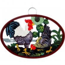Cajun Classic Hen And Rooster Cast Iron Trivet - GL10439B image