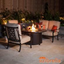 Carondelet 4 Piece Cast Aluminum Fire Pit Outdoor Conversation Set W/ 48-Inch Round Fire Pit Chat Table, Loveseat & Sunbrella Spectrum Sand Cushions By Lakeview Outdoor Designs image