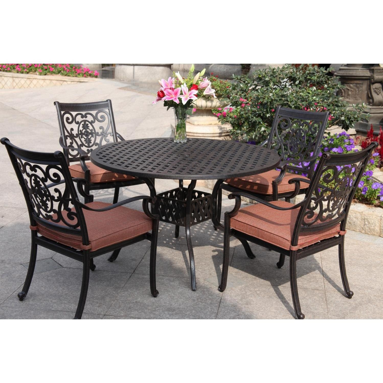 darlee st cruz 5 piece cast aluminum patio dining set with round table ultimate patio. Black Bedroom Furniture Sets. Home Design Ideas