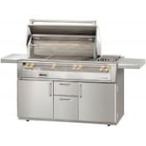 Alfresco ALXE 56-Inch Freestanding Natural Gas Deluxe Grill With Rotisserie And Side Burner - ALXE-56C-NG