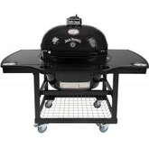 Primo Jack Daniels Edition Oval XL Ceramic Kamado Grill On Steel Cart With 1-Piece Island Side Shelves & Cup Holders