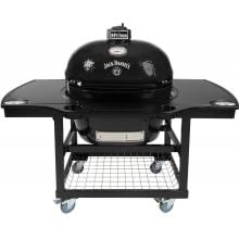 Primo Jack Daniels Edition Oval XL Ceramic Kamado Grill On Steel Cart With 1-Piece Island Side Shelves & Cup Holders Primo Jack Daniels Edition Ceramic Charcoal Smoker Grill On Cart With 1-Piece Island Side Shelves & Cup Holders - Oval XL