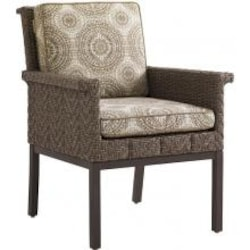 Blue Olive Wicker Patio Dining Arm Chair W/ Sunbrella Fabric By Tommy Bahama image