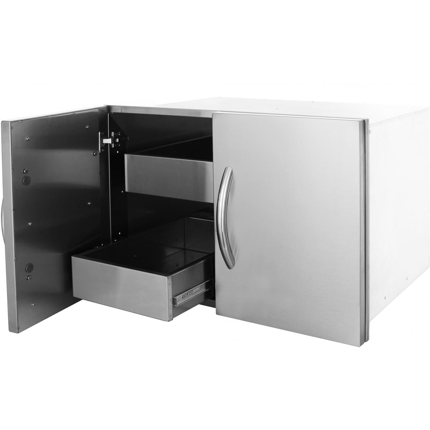 Cabinet With Drawers Cal Flame 30 Inch Enclosed Cabinet With Drawers And Roll Out
