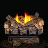 Peterson Real Fyre 24-Inch Valley Oak Gas Log Set With Vent-Free Natural Gas ANSI Certified 20,000 BTU G8 Burner - Basic On/Off Remote