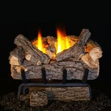 Peterson Real Fyre 24-Inch Valley Oak Gas Log Set With Vent-Free Natural Gas ANSI Certified 20,000 BTU G8 Burner - Basic On/Off Remote Peterson Valley Oak
