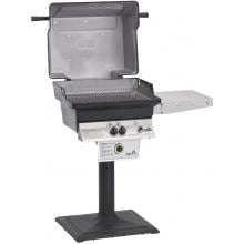 PGS T-Series T30 Commercial Cast Aluminum Freestanding Natural Gas Grill With Timer On Bolt-Down Patio Post PGS T-Series T30 Commercial Cast Aluminum Freestanding Gas Grill -  Hood Open